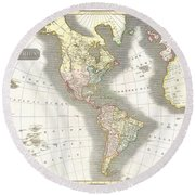 1814 Thomson Map Of North And South America Round Beach Towel