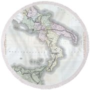 1814 Thomson Map Of Southern Italy Round Beach Towel
