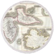 1815 Thomson Map Of Guadaloupe Antigua Marie Galante  West Indies Round Beach Towel