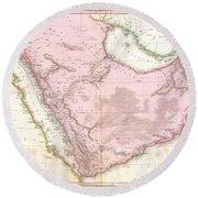 1818 Pinkerton Map Of Arabia And The Persian Gulf Round Beach Towel