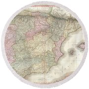 1818 Pinkerton Map Of Spain And Portugal Round Beach Towel