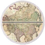 1820 Lizars Wall Map Of Asia Round Beach Towel