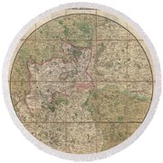 1820 Mogg Pocket Or Case Map Of London Round Beach Towel