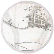 1820 Yates Map Of Albany Circa 1770 Round Beach Towel