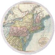 1821 Cary Map Of New England New York Pennsylvania And Virginia Round Beach Towel