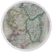 1822 Butler Map Of Ireland Round Beach Towel