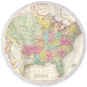 1823 Melish Map Of The United States Of America Round Beach Towel