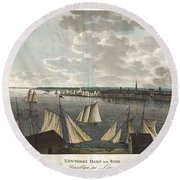 1824 Klinkowstrom View Of New York City From Brooklyn  Round Beach Towel by Paul Fearn