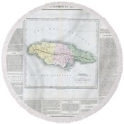 1825 Carez Map Of Jamaica  Round Beach Towel
