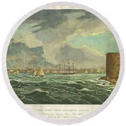 1825 Wall And Hill View Of New York City From The Hudson River Port Folio Round Beach Towel