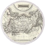 1826 Assheton Map Of Russia In Asia Round Beach Towel