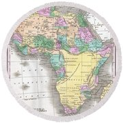 1827 Finley Map Of Africa Round Beach Towel