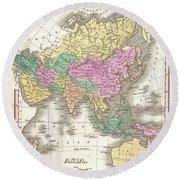 1827 Finley Map Of Asia And Australia Round Beach Towel