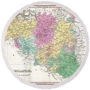 1827 Finley Map Of Belgium And Luxembourg Round Beach Towel