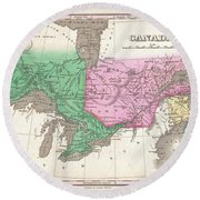 1827 Finley Map Of Canada  Round Beach Towel