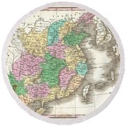 1827 Finley Map Of China  Round Beach Towel