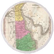 1827 Finley Map Of Delaware Round Beach Towel