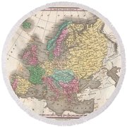1827 Finley Map Of Europe Round Beach Towel