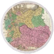 1827 Finley Map Of Germany Round Beach Towel