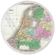 1827 Finley Map Of Holland Or The Netherlands Round Beach Towel