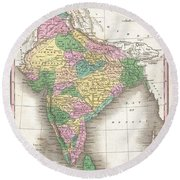 1827 Finley Map Of India  Round Beach Towel