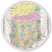 1827 Finley Map Of Indiana Round Beach Towel