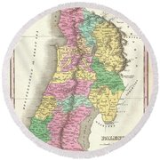 1827 Finley Map Of Israel  Palestine Holy Land Round Beach Towel