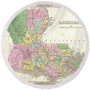 1827 Finley Map Of Louisiana Round Beach Towel