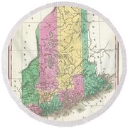 1827 Finley Map Of Maine Round Beach Towel