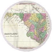 1827 Finley Map Of Maryland Round Beach Towel