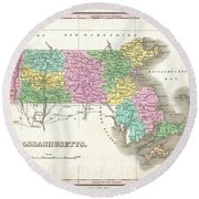 1827 Finley Map Of Massachusetts Round Beach Towel