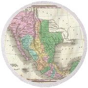1827 Finley Map Of Mexico Upper California And Texas Round Beach Towel