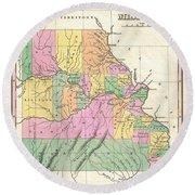 1827 Finley Map Of Missouri Round Beach Towel