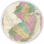 1827 Finley Map Of New Jersey  Round Beach Towel