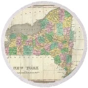 1827 Finley Map Of New York State Round Beach Towel