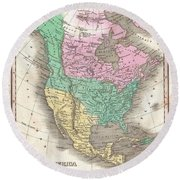 1827 Finley Map Of North America Round Beach Towel