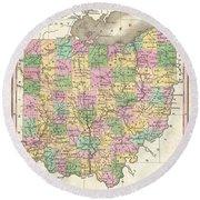 1827 Finley Map Of Ohio Round Beach Towel