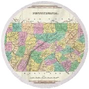 1827 Finley Map Of Pennsylvania Round Beach Towel