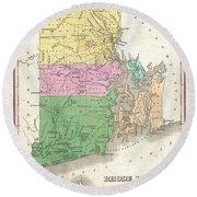 1827 Finley Map Of Rhode Island Round Beach Towel
