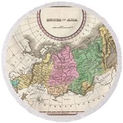 1827 Finley Map Of Russia In Asia Round Beach Towel