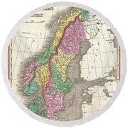 1827 Finley Map Of Scandinavia Norway Sweden Denmark Round Beach Towel