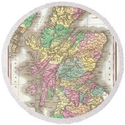 1827 Finley Map Of Scotland Round Beach Towel