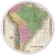 1827 Finley Map Of South America Round Beach Towel