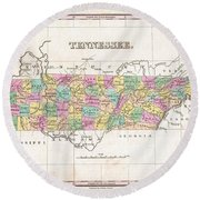 1827 Finley Map Of Tennessee Round Beach Towel