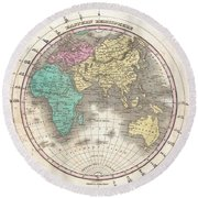 1827 Finley Map Of The Eastern Hemisphere  Round Beach Towel