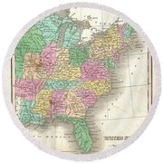 1827 Finley Map Of The United States Round Beach Towel