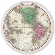 1827 Finley Map Of The Western Hemisphere Round Beach Towel