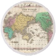 1827 Finley Map Of The World Round Beach Towel