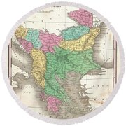 1827 Finley Map Of Turkey In Europe Greece And The Balkans Round Beach Towel