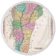 1827 Finley Map Of Vermont Round Beach Towel
